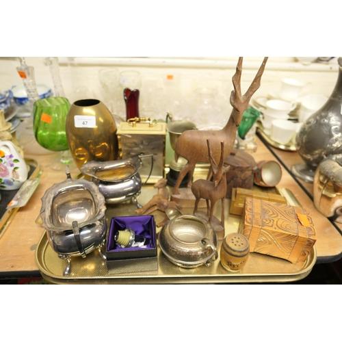47 - WMF Ikora ovoid brass vase (AF), electro-plated milk and sugar bowl, further plated hammered finish ...
