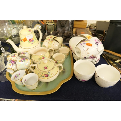 7 - H&K Tunstall coffee service, continental gilt and floral coffee cups and saucers and a set of six te...