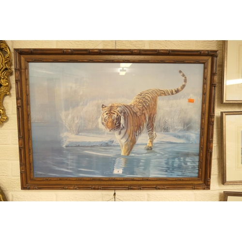 8 - Leonard Pearson print of a prowling tiger in a bamboo effect frame...