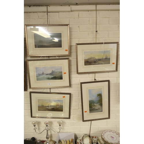 9 - Five attractively framed gouache  nautical views of Dunbar Castle, Lough Fyne, Alum Bay on Isle of W...