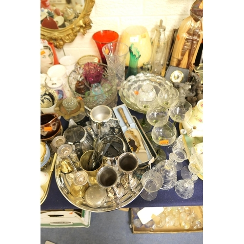 4 - Mixed glass and EPNS wares including a Swan Brand willow ware five piece coffee and tea service, gla...