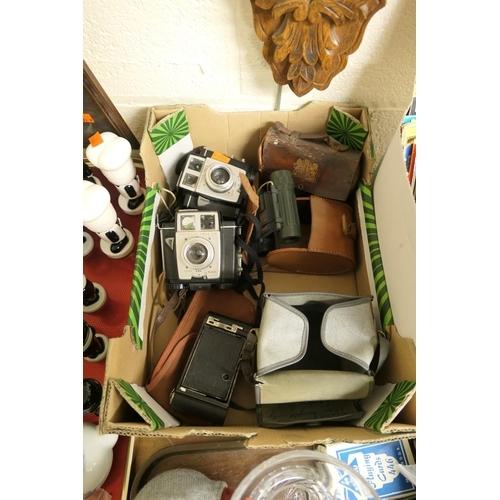 40 - Two Kodak Brownies, miniature binoculars and a shoe shine kit...