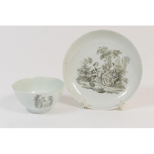 11 - Christian (Liverpool) tea bowl and saucer, circa 1765-8, decorated with a monochrome print titled 'T...