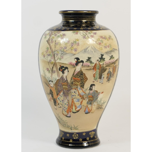 16 - Japanese Satsuma vase, late Meiji (1868-1912), ovoid form decorated with panels featuring Bijin with...