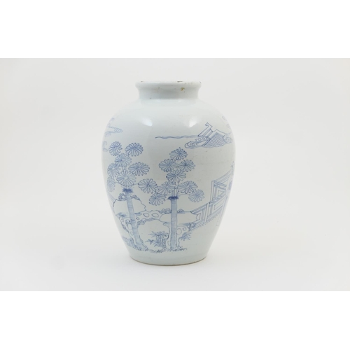 20 - Annamese blue and white vase, 18th or 19th Century, ovoid form decorated with a couple seated at a t...