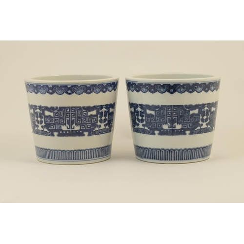 21 - Pair of Chinese blue and white jardinieres, each of bucket form with gently tapering sides, decorate...
