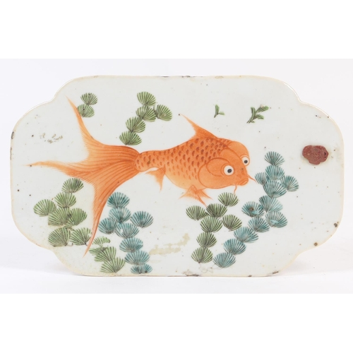 24 - Chinese porcelain plaque, 18th or 19th Century, shaped rectangular form decorated with a fantail gol...