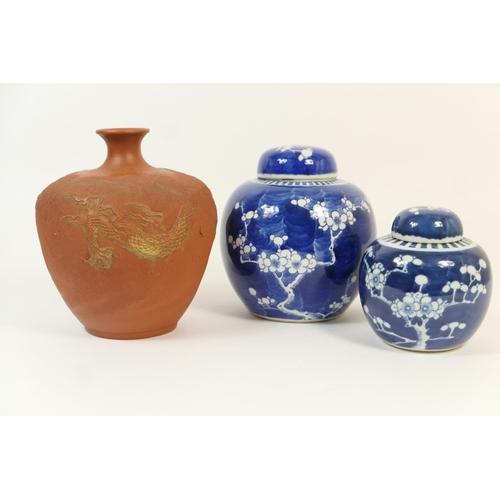 28 - Japanese terracotta bottle vase, late Meiji (1868-1912), inverted baluster shape with narrow neck, m...