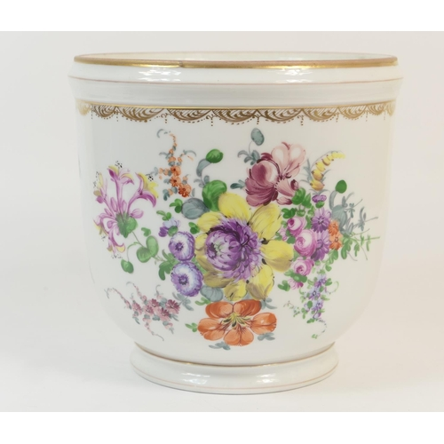 29 - Dresden porcelain jardiniere, decorated with polychrome floral sprays, height 23.5cm...
