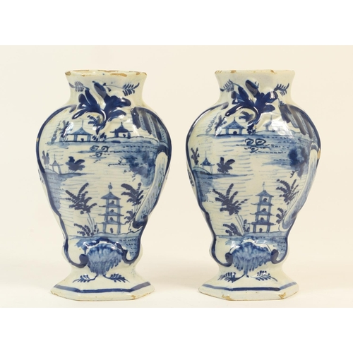31 - Pair of Dutch delft blue and white vases, 18th or 19th Century, of inverted hexagonal baluster form ...