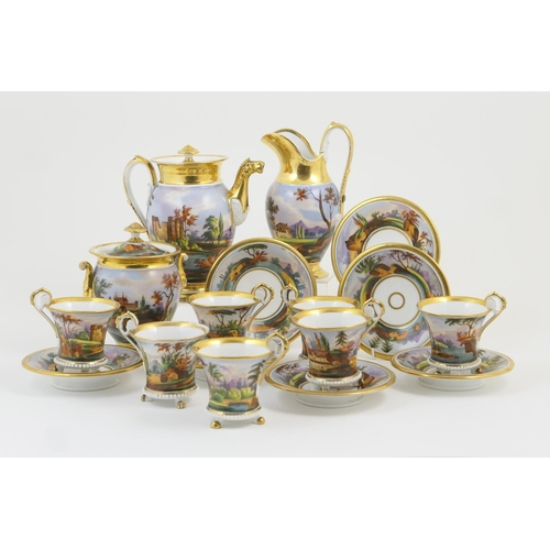 32 - French hand decorated porcelain coffee service, probably Paris, early 19th Century, comprising lidde...