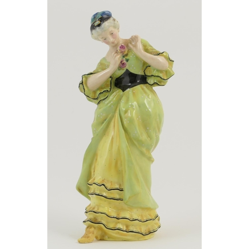 35 - Royal Doulton figure 'Lady with Rose' (HN68), designed by E. W. Light, issued circa 1916-36, finishe...