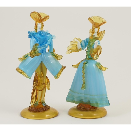 40 - Pair of Murano glass figures by G Toffolo, typically worked in elaborate costumes in blue and amber ...