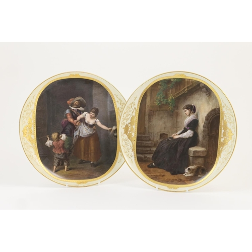 5 - Pair of pictorial plaques in Vienna style, each decorated with a printed painterly panel, hand embel...