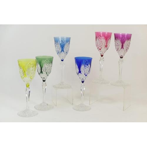 6 - Eastern European set of six harlequin overlay hock glasses, height 21.5cm...