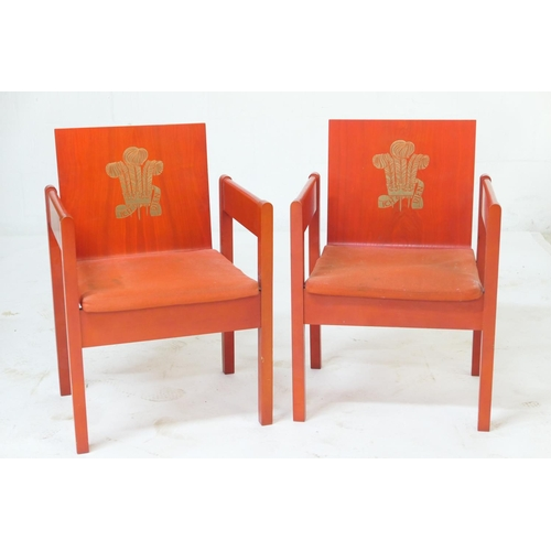 674 - Pair of Prince of Wales Investiture chairs, 1969, designed by Lord Snowdon, with original orange pad...