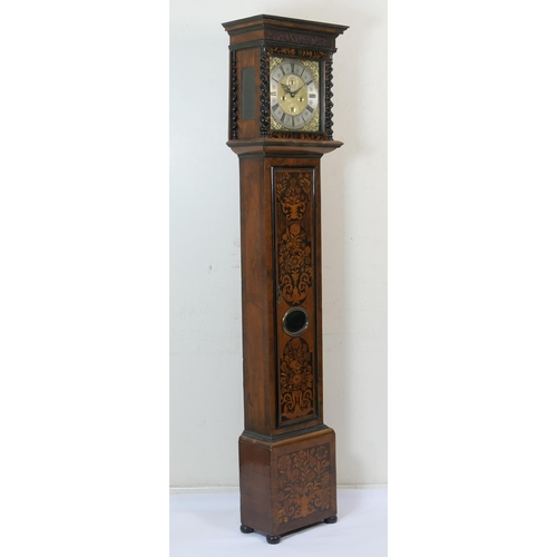 675 - Fine William and Mary walnut and marquetry longcase clock by Joseph Windmills, London, circa 1695, t...