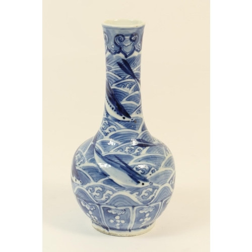3 - Chinese blue and white bottle vase, late 19th Century or early 20th Century, decorated with flying f...