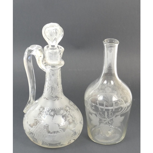 4 - Victorian engraved glass claret jug, baluster form with faceted stopper, height 29cm; also an early ...