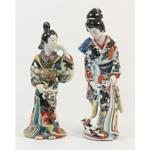 18 - Two Japanese Kutani porcelain figures of Bijin, decorated throughout in brightly coloured enamels, 2...