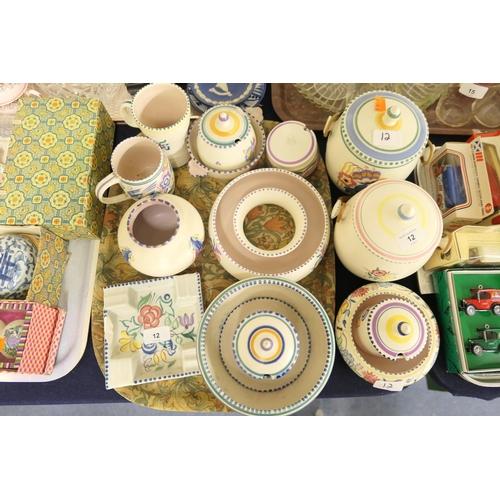 12 - Good mix of Poole pottery including biscuit barrels, pot pourri ring, preserve pots etc...
