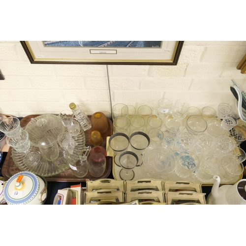 15 - Mixed pedestal glassware and tumblers, also a vintage Smiths Crisps lid (no barrel) (2 trays)...