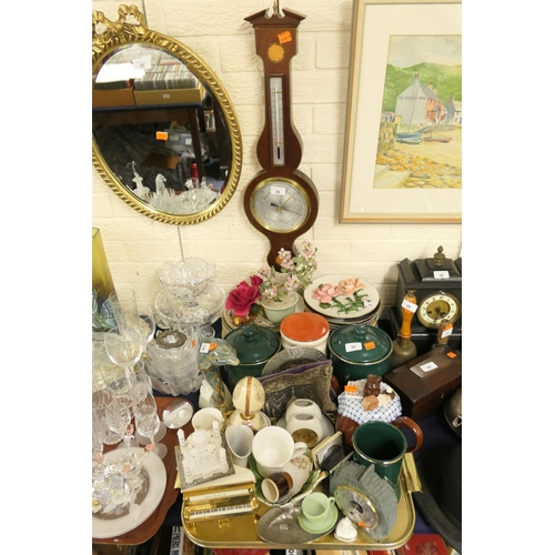 26 - Mixed ceramics including biscuit barrels and collectors plates, also a slate housed barometer and a ...