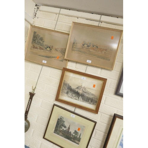 5 - Three coloured and one black and white lithographic prints, all framed (4)...