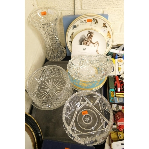 3 - Mixed glass and ceramics including collectors plates, vases and fruit bowls etc...