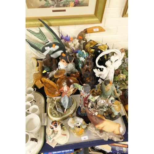 19 - Mixed lot including Oriental figures, Franklin Mint figure 'The Scarf Dancer', also treen items and ...