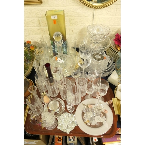 24 - Mixed glassware including Waterford seahorse figure, decanter, fruit bowls, tumblers etc...