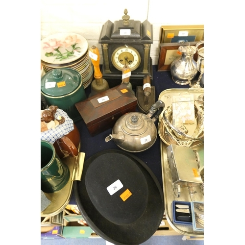 28 - Slate mantel clock (a/f), two bells, vintage iron, electroplated teapot, mahogany box and a bowler (...