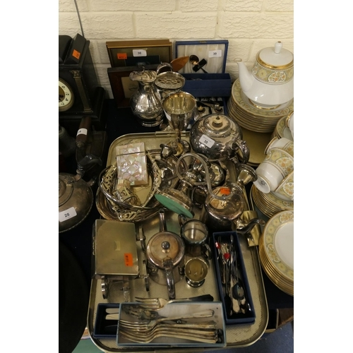 30 - Mixed plated wares including wine bottle carriage, cigarette box, teapots and boxed flatware, also t...