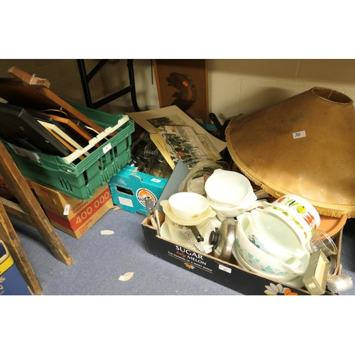 38 - Three boxes of household items including pots, pans, Pyrex etc, also a box of picture frames...