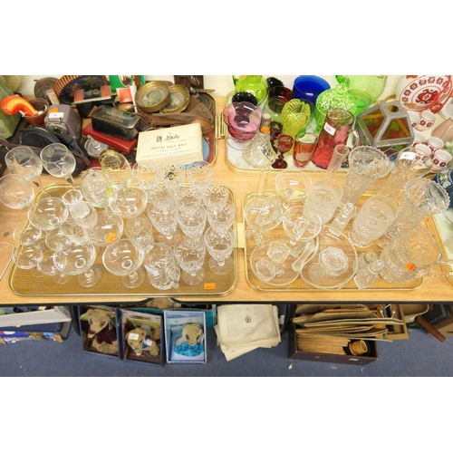 43 - Two trays of pedestal and other glassware including Royal Doulton pedestal wine glasses, four Webb c...