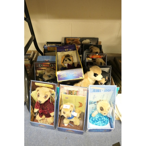 44 - Good quantity of Compare the Market Meerkat figures including Aleksandre, Sergei, Oleg and a limited...
