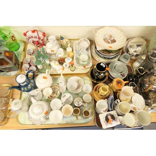 46 - Mixture of ceramics including Japanese sake set, Paragon sandwich plate, Goebel figure coffee pots, ...