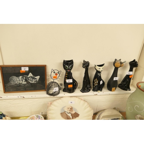 47 - Mixed feline figures including ceramic, treen and metal cats and a framed print of a cat (7)...