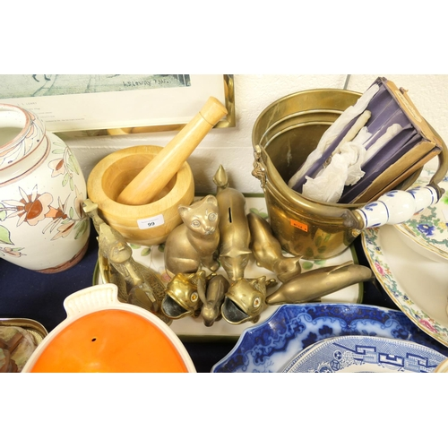 99 - Ornamental brassware, mother of pearl handled cutlery etc...