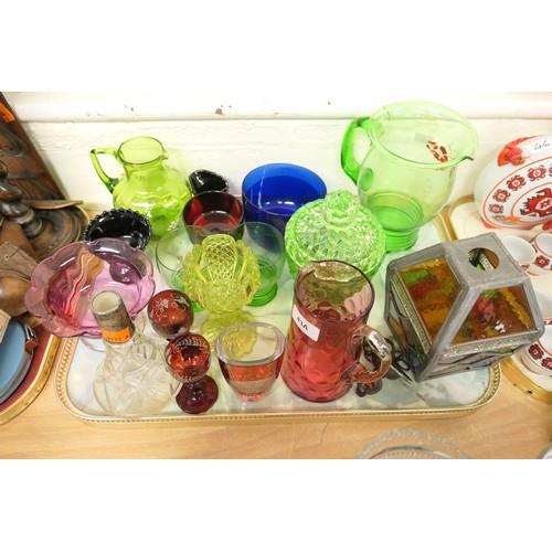 43A - Tray of coloured glassware including two blue glass finger bowls, cranberry glass pedestal bonbon di...