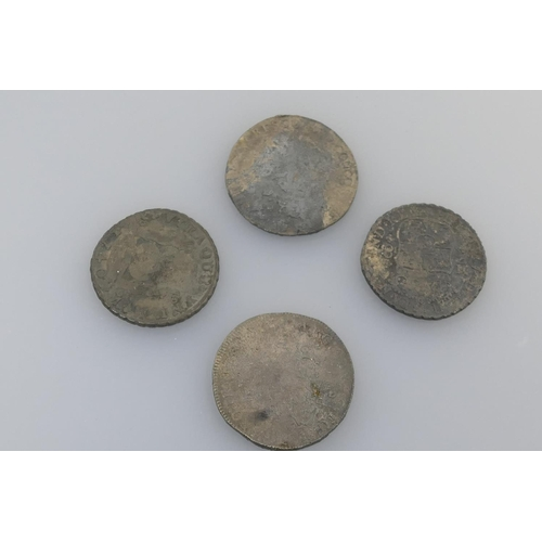 485 - Spanish pieces of eight and two further old coins (4)...