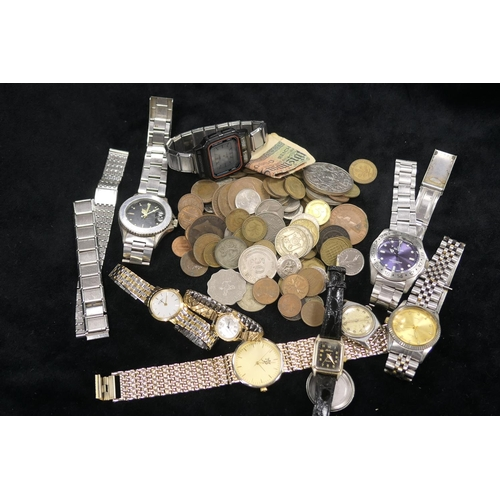 510 - Mixed coinage and wristwatches...