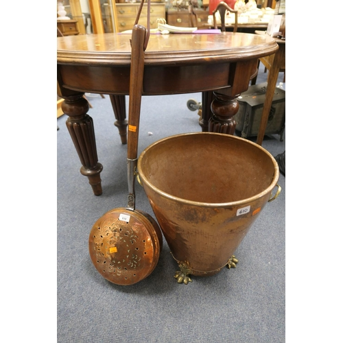 610 - 19th Century French provincial copper warming pan with later handle; also a copper log bin with lion...