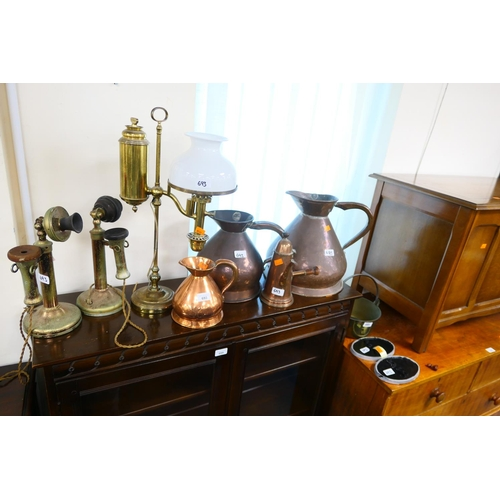 693 - Victorian copper harvest measures, copper chocolate pot, candlestick type telephones, brass oil lamp...