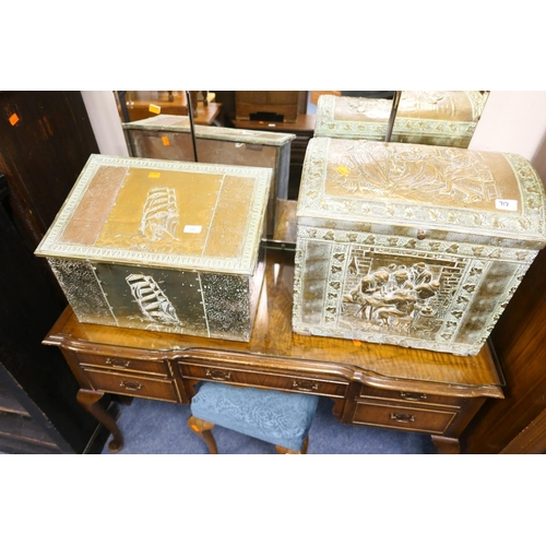 717 - Two brass slipper boxes...