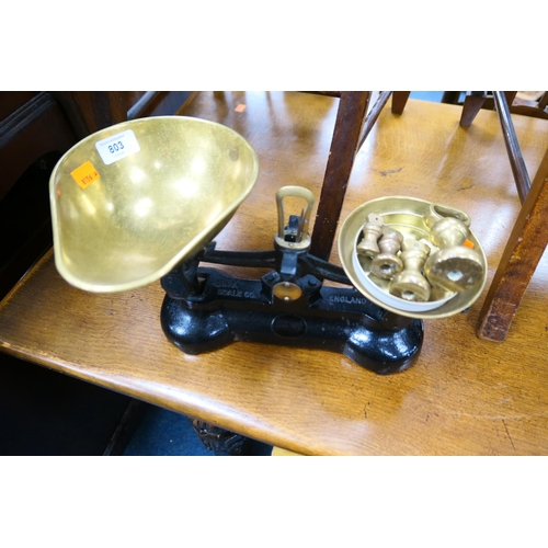 803 - Kitchen scales with brass weights...