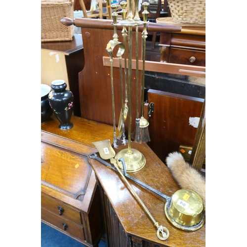 818 - Brass and wrought iron brazing pan and a brass companion stand...