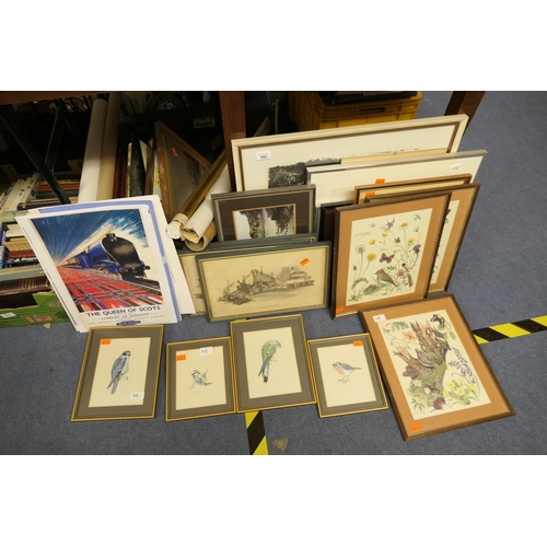 102 - Four framed gouache ornithology paintings signed also assorted prints and frames including reproduct...