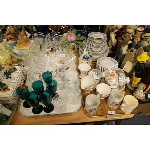 113 - Six green glass pedestal wines, other mixed glassware including Stuart Crystal tazze; also Royal Dou...