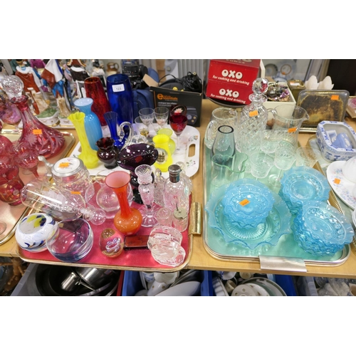 123 - Assorted coloured and other glassware (3 trays)...